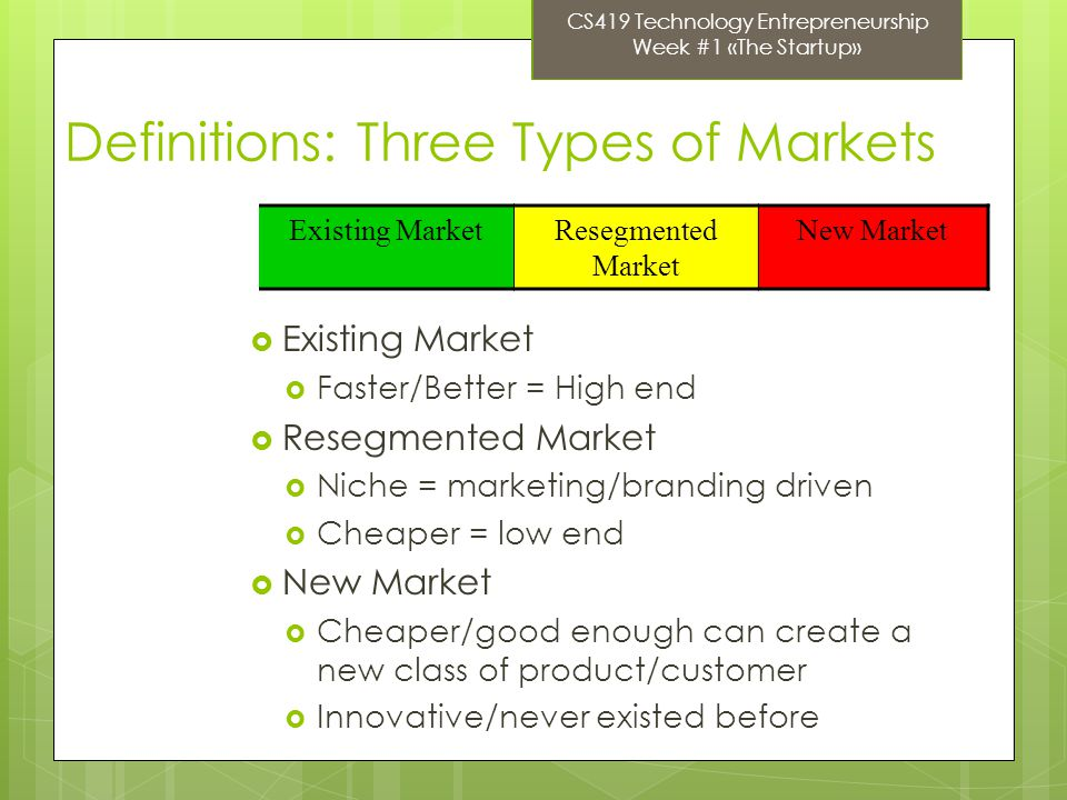 Definitions: Three Types of Markets Existing Market Faster/Better = High end Resegmented Market Niche = marketing/branding driven Cheaper = low end New Market Cheaper/good enough can create a new class of product/customer Innovative/never existed before Existing MarketResegmented Market New Market CS419 Technology Entrepreneurship Week #1 «The Startup»