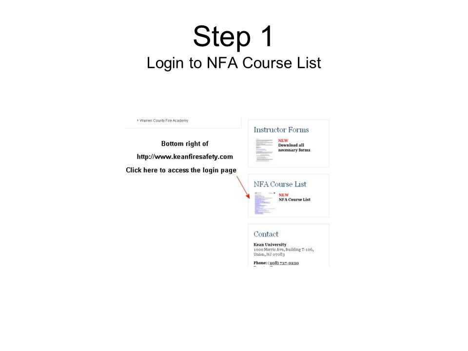 Step 1 Login to NFA Course List