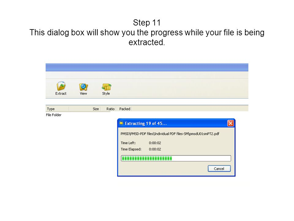 Step 11 This dialog box will show you the progress while your file is being extracted.