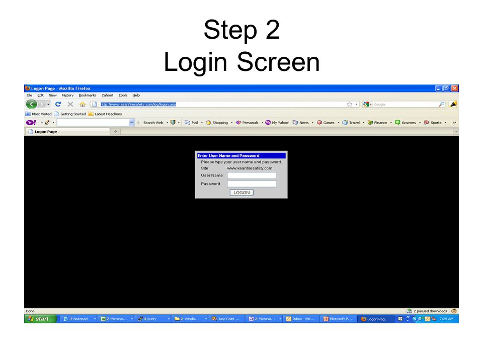 Step 2 Login Screen