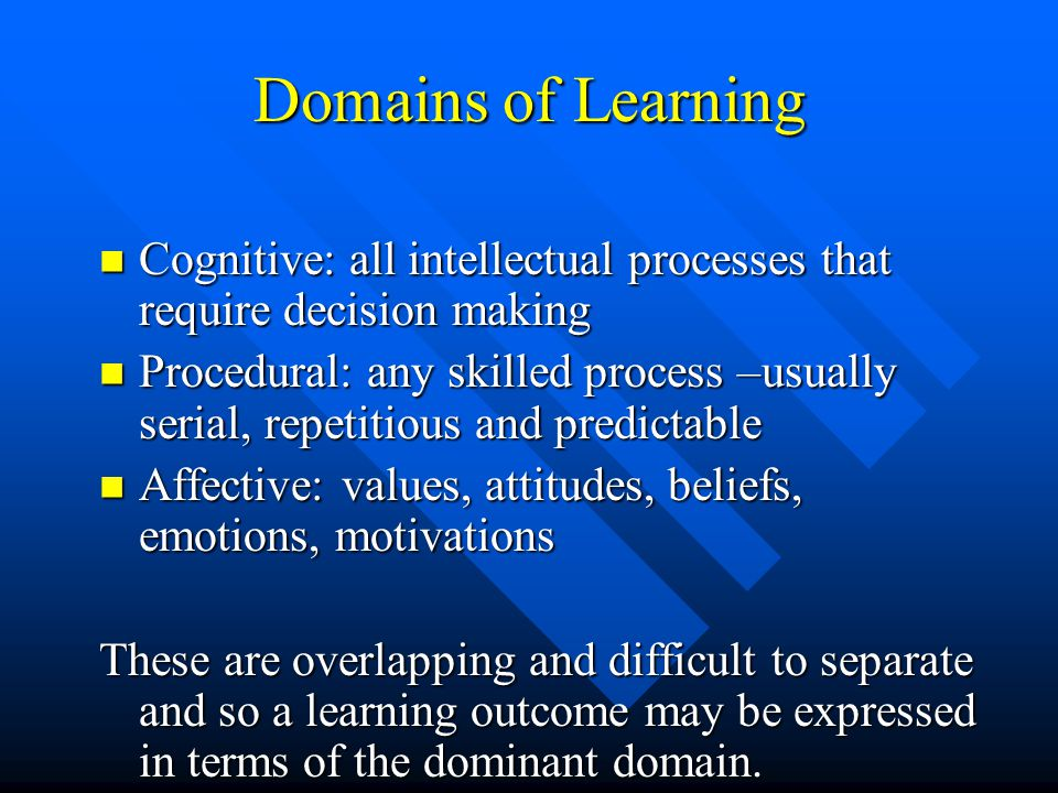 Domains of learning cognitive procedural affective