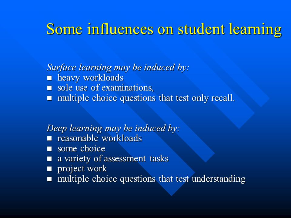 Levels of Learning The learning outcome can be directed at one or more level of learning The learning outcome can be directed at one or more level of