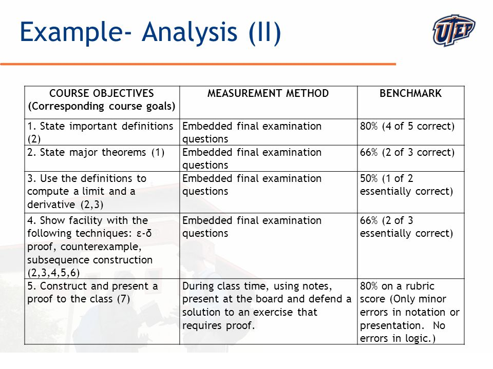 © The University of Texas at El Paso Example- Analysis (II) COURSE OBJECTIVES (Corresponding course goals) MEASUREMENT METHODBENCHMARK 1. State import