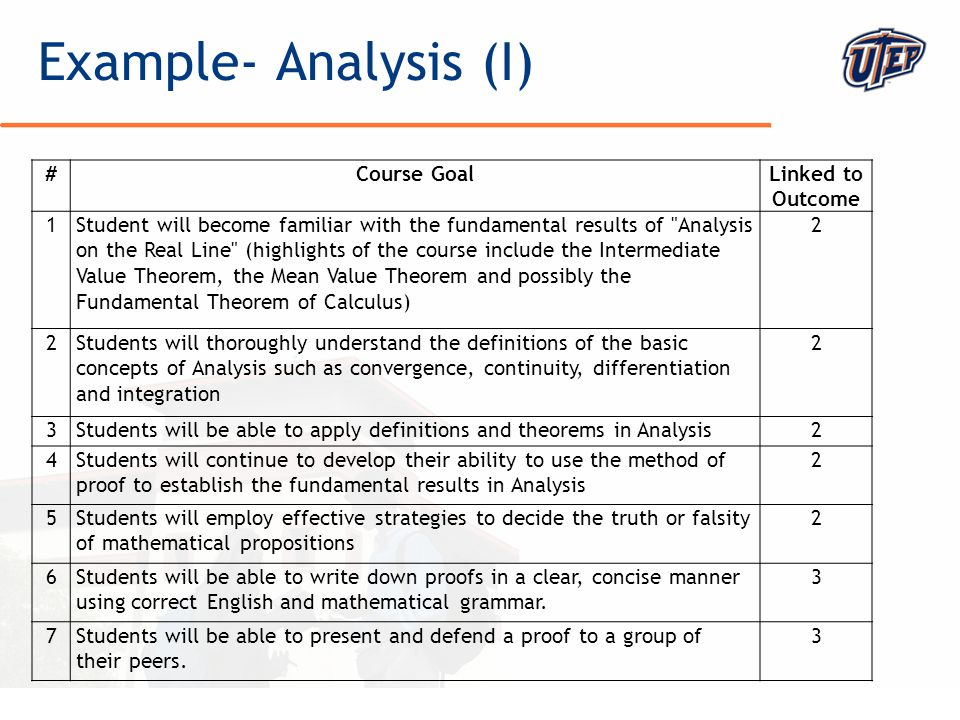 © The University of Texas at El Paso Example- Analysis (I) #Course GoalLinked to Outcome 1Student will become familiar with the fundamental results of