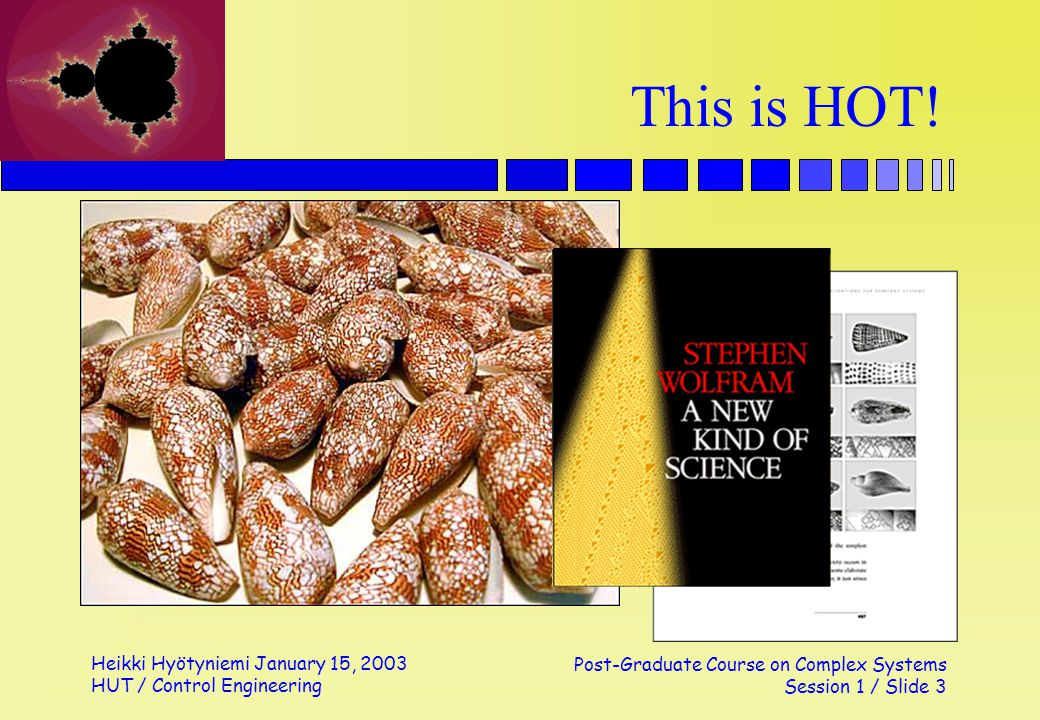 Heikki Hyötyniemi January 15, 2003 HUT / Control Engineering Post-Graduate Course on Complex Systems Session 1 / Slide 3 This is HOT!