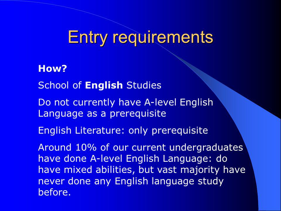 Entry requirements How.
