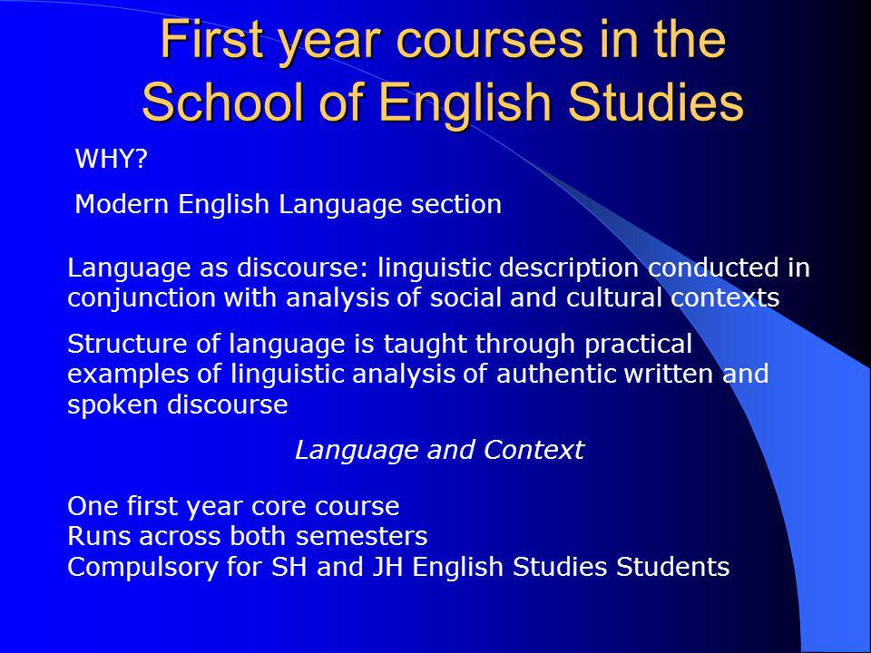 First year courses in the School of English Studies WHY? Modern English Language section One first year core course Runs across both semesters Compuls
