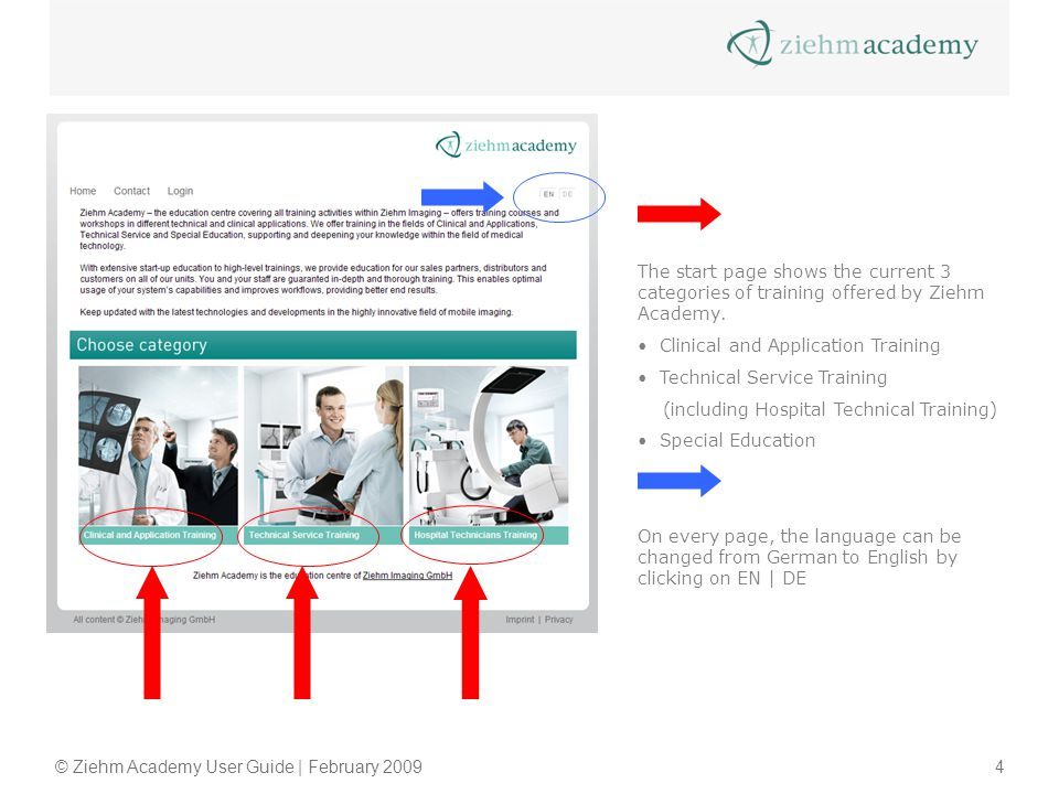 © Ziehm Academy User Guide | February 20094 The start page shows the current 3 categories of training offered by Ziehm Academy. Clinical and Applicati