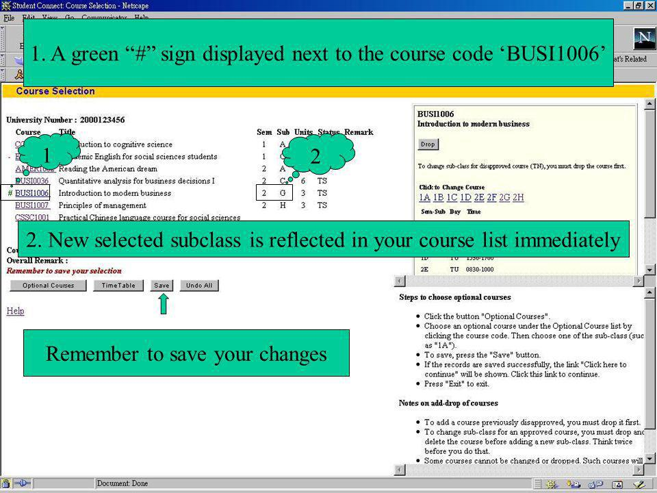 1 2 1. A green # sign displayed next to the course code BUSI1006 2.