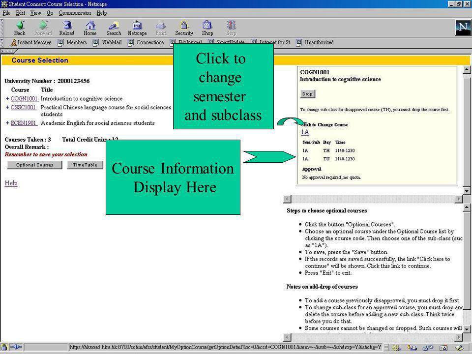 Course Information Display Here Click to change semester and subclass