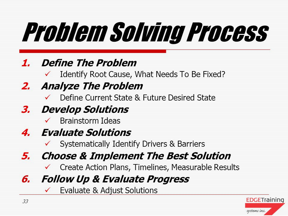 32 Problem Solving Process 6.Follow Up & Evaluate Progress Follow through with solutions Establish accountability Monitor and track progress Evaluate results and adjust solutions Fall back on your contingency plan if needed
