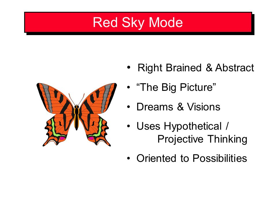 Red Sky Mode Right Brained & Abstract The Big Picture Dreams & Visions Uses Hypothetical / Projective Thinking Oriented to Possibilities