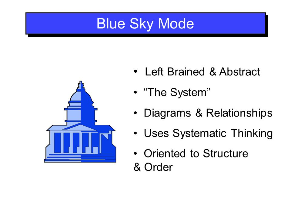 Blue Sky Mode Left Brained & Abstract The System Diagrams & Relationships Uses Systematic Thinking Oriented to Structure & Order