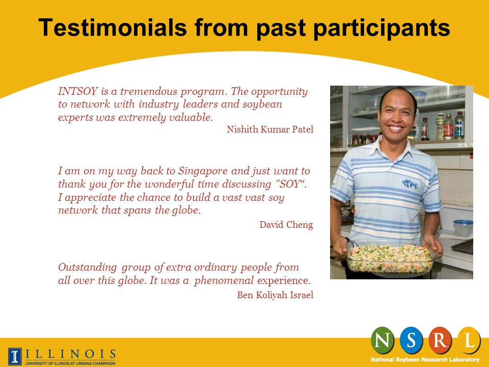 Testimonials from past participants INTSOY is a tremendous program.