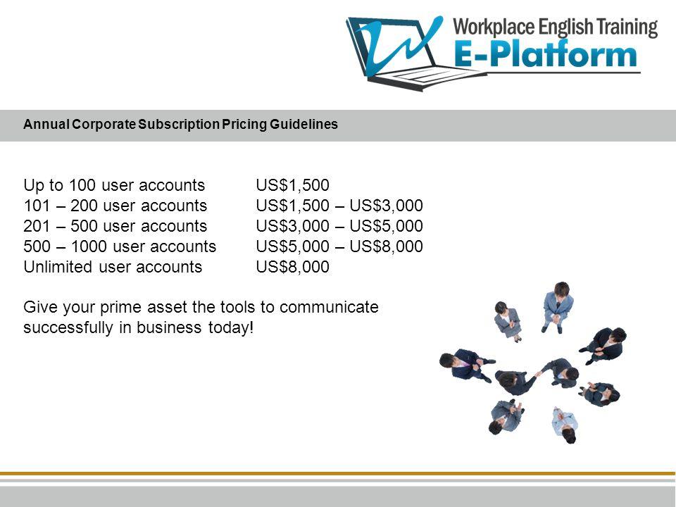 Up to 100 user accountsUS$1,500 101 – 200 user accountsUS$1,500 – US$3,000 201 – 500 user accounts US$3,000 – US$5,000 500 – 1000 user accountsUS$5,00