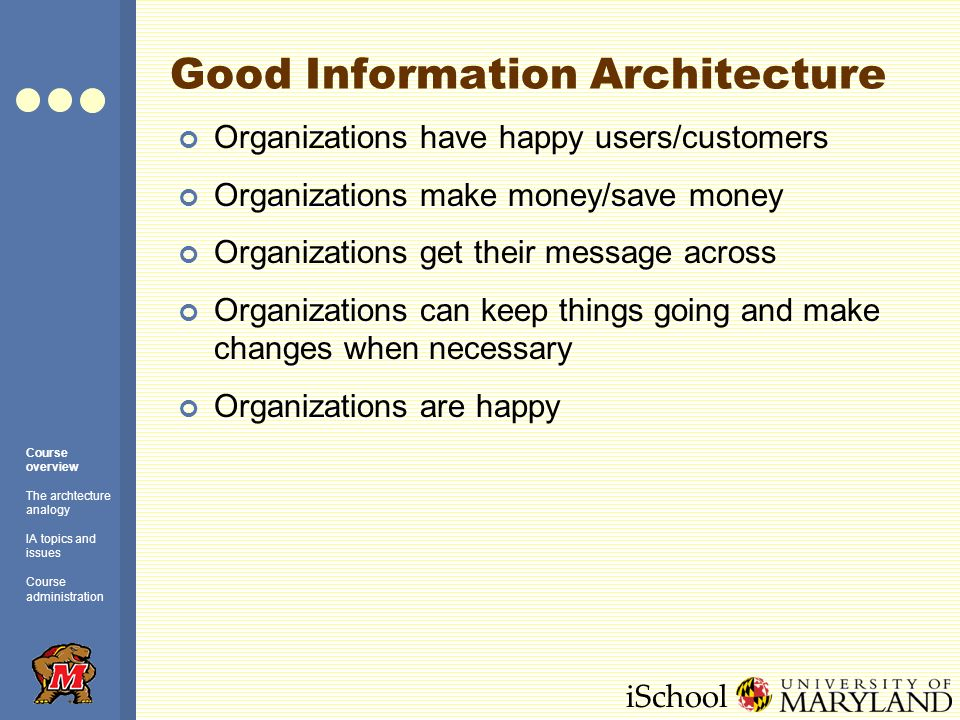 iSchool Bad Information Architecture Users cant get what they want/need, are confused or frustrated Users go away or go to a competitors site Organizations waste/lose money or fail to gain revenues/clients/users Organizations are unhappy We get fired Course overview The archtecture analogy IA topics and issues Course administration