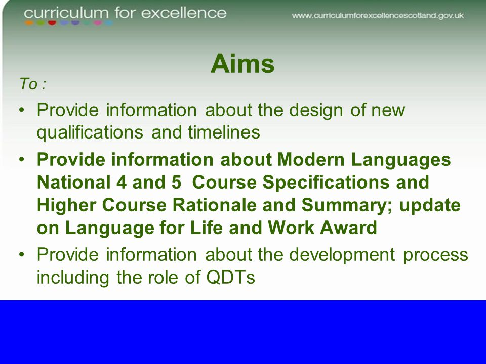 Aims To : Provide information about the design of new qualifications and timelines Provide information about Modern Languages National 4 and 5 Course