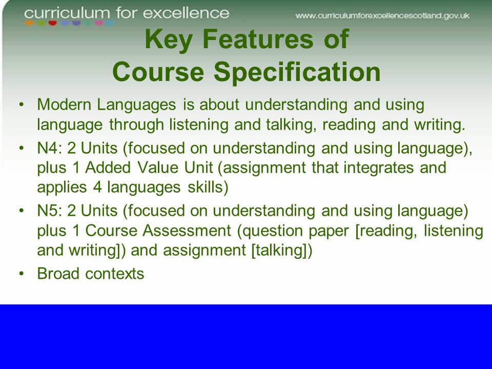 Key Features of Course Specification Modern Languages is about understanding and using language through listening and talking, reading and writing. N4