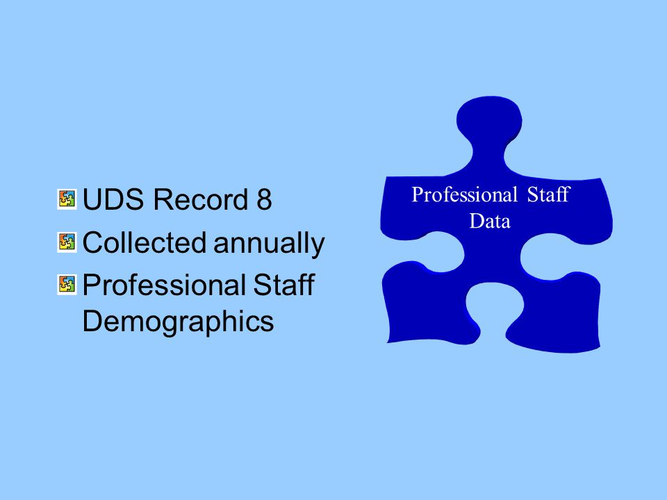 Professional Staff Data UDS Record 8 Collected annually Professional Staff Demographics