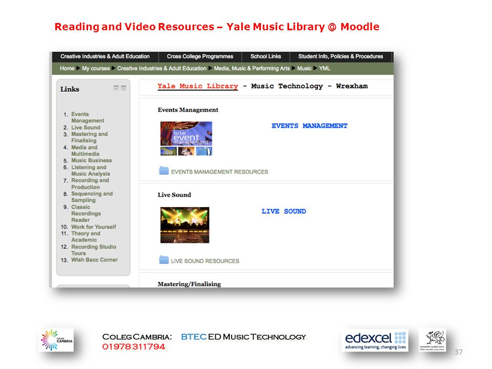 Reading and Video Resources – Yale Music Library @ Moodle 37