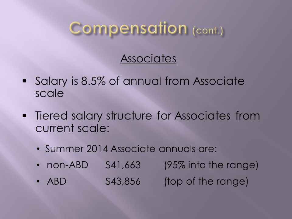 Associates Salary is 8.5% of annual from Associate scale Tiered salary structure for Associates from current scale: Summer 2014 Associate annuals are: non-ABD$41,663(95% into the range) ABD$43,856(top of the range)