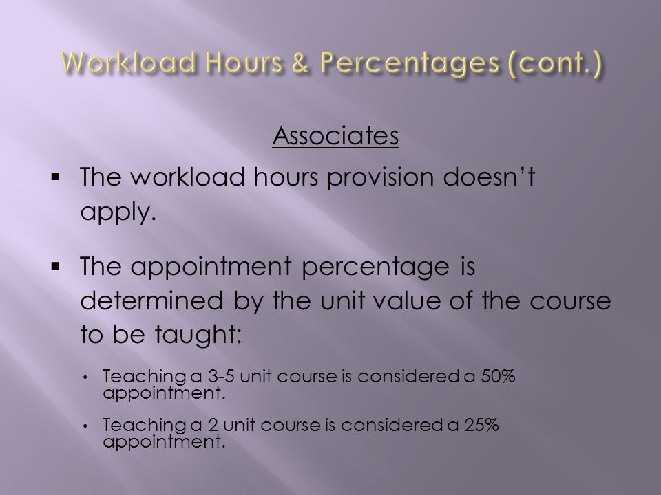 Associates The workload hours provision doesnt apply.