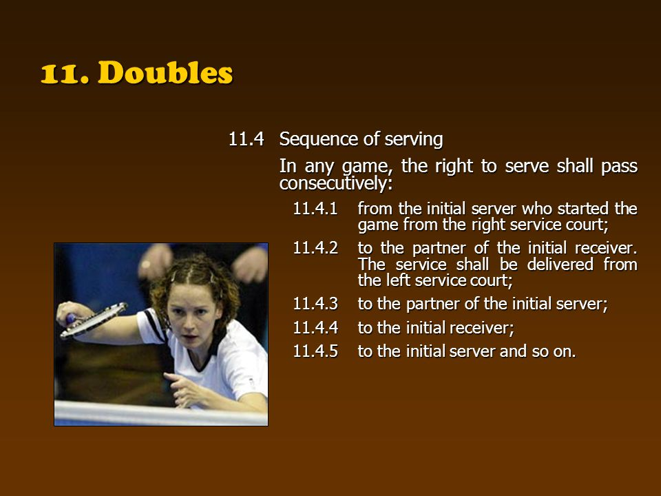11. Doubles 11.4Sequence of serving In any game, the right to serve shall pass consecutively: 11.4.1from the initial server who started the game from