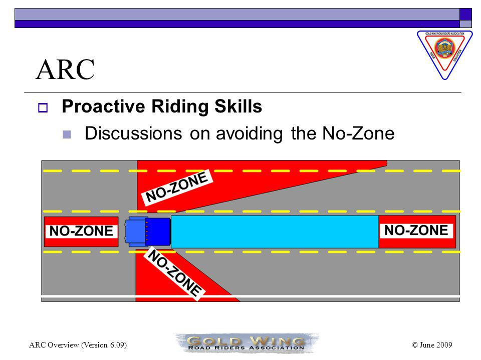 © June 2009ARC Overview (Version 6.09) ARC Proactive Riding Skills Sequence of Cornering 1.