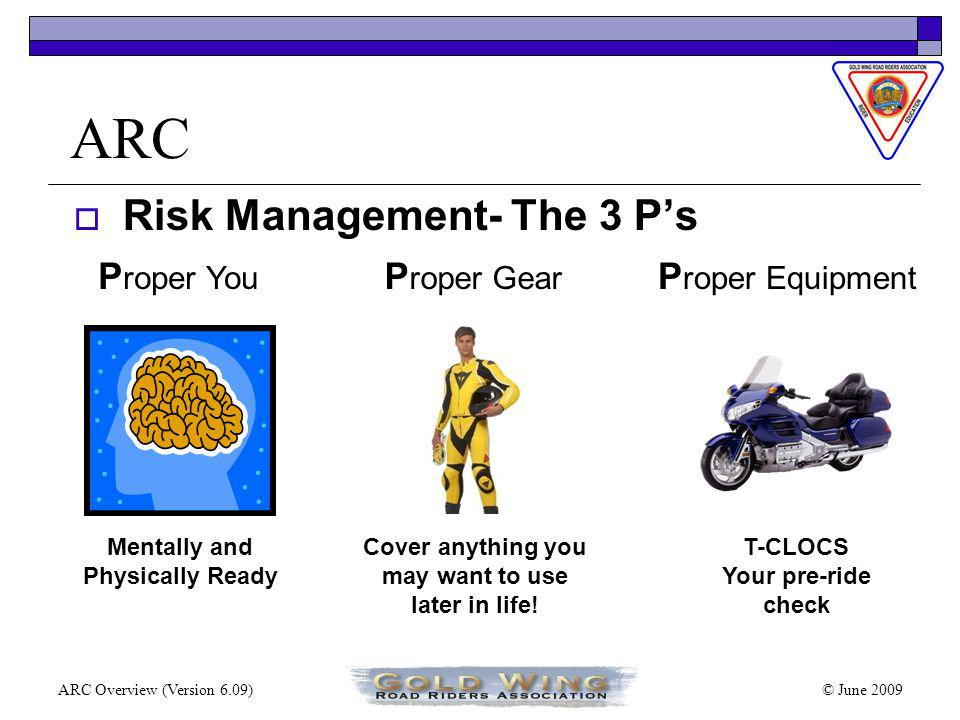 © June 2009ARC Overview (Version 6.09) ARC Classroom Discussions of three Primary areas o Risk Management o Mental Proactive Riding Strategies o Proactive Riding Skills Here is a preview of discussions.