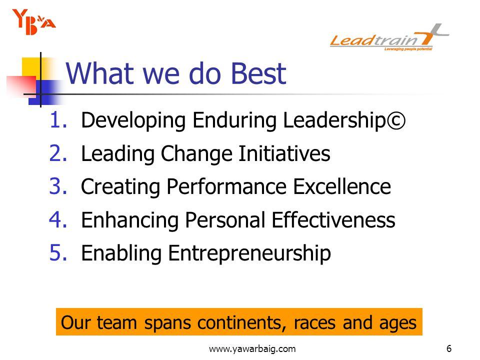 www.yawarbaig.com6 1. Developing Enduring Leadership© 2.