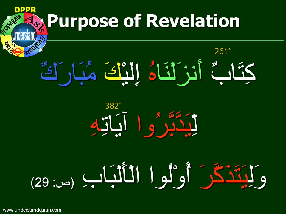 Purpose of Revelation كِتَابٌ أَنزَلْنَاهُ إِلَيْكَ مُبَارَكٌ لِّيَدَّبَّرُوا آيَاتِهِ لِّيَدَّبَّرُوا آيَاتِهِ وَلِيَتَذَكَّرَ أُوْلُوا الْأَلْبَابِ ( ص : 29) 382 * 261 * www.understandquran.com