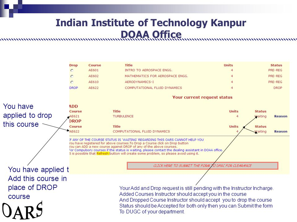 Indian Institute of Technology Kanpur DOAA Office Your Add and Drop request is still pending with the Instructor Incharge.