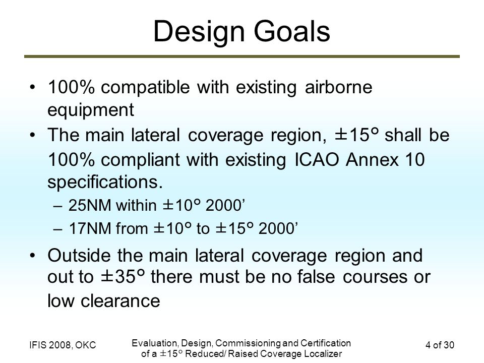 Evaluation, Design, Commissioning and Certification of a ±15° Reduced/ Raised Coverage Localizer 4 of 30IFIS 2008, OKC Design Goals 100% compatible wi