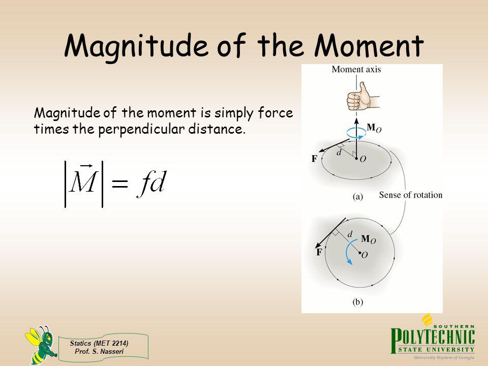 Statics (MET 2214) Prof. S. Nasseri Magnitude of the Moment Magnitude of the moment is simply force times the perpendicular distance.