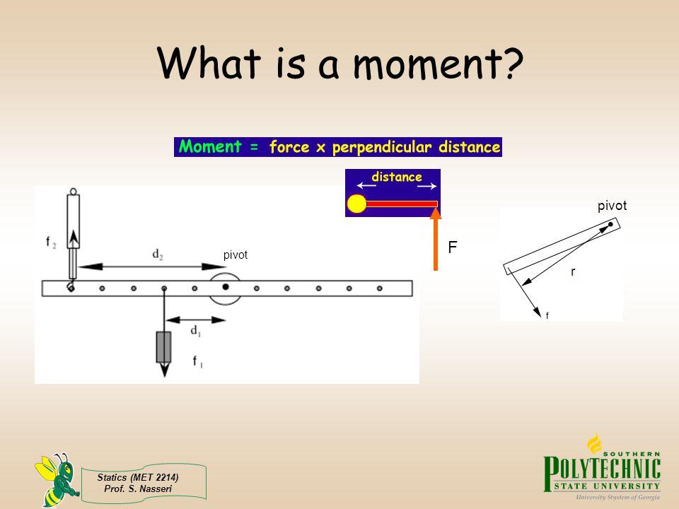 Statics (MET 2214) Prof. S. Nasseri What is a moment? pivot F r
