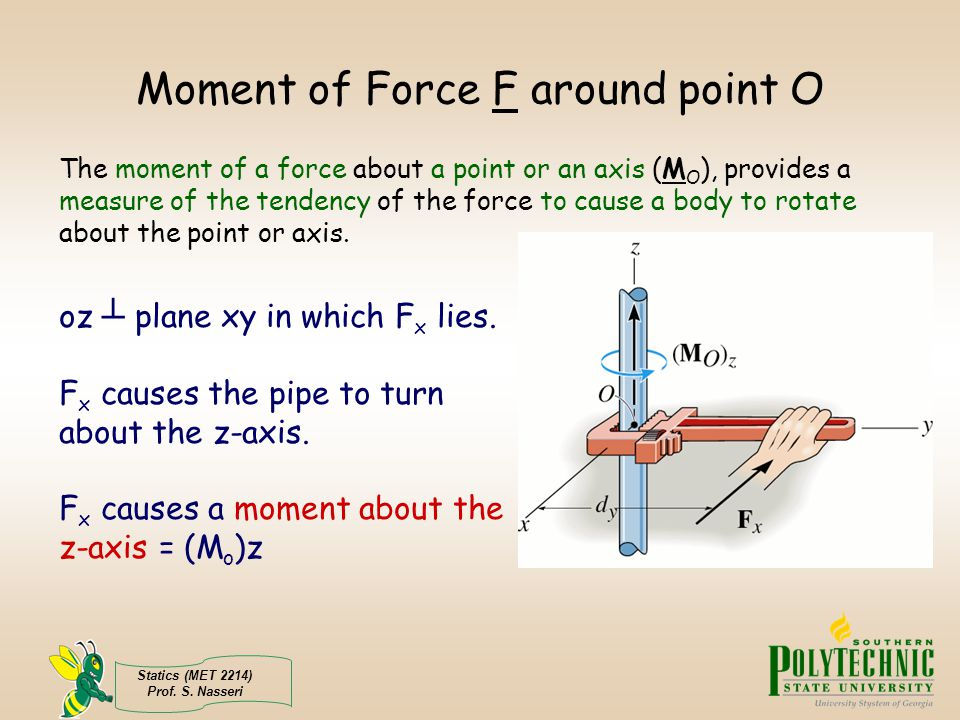 Statics (MET 2214) Prof. S. Nasseri Moment of Force F around point O The moment of a force about a point or an axis (M O ), provides a measure of the