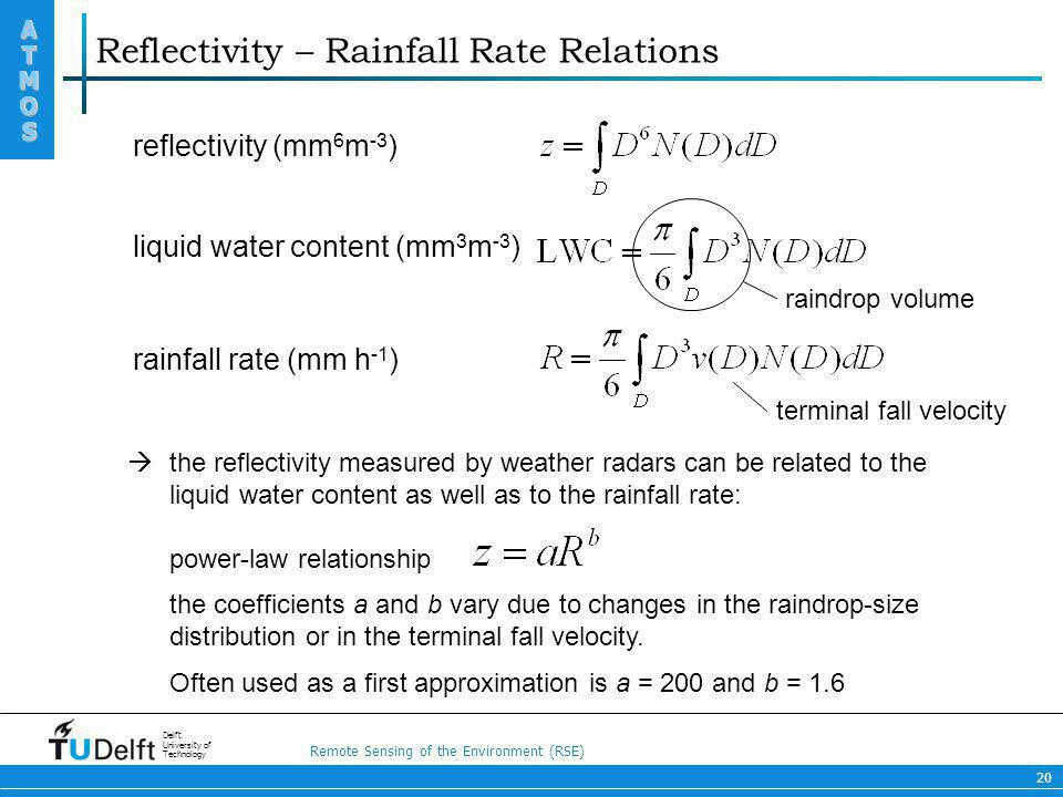 Remote Sensing of the Environment (RSE) ATMOS ATMOS Delft University of Technology 20 Reflectivity – Rainfall Rate Relations reflectivity (mm 6 m -3 )