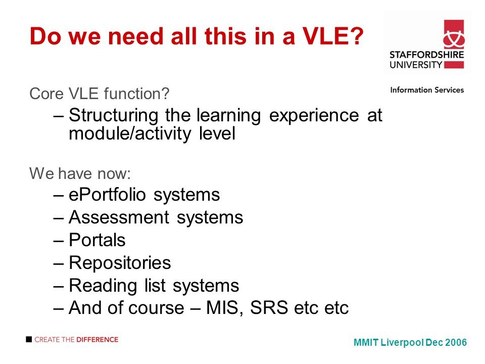 Do we need all this in a VLE. Core VLE function.