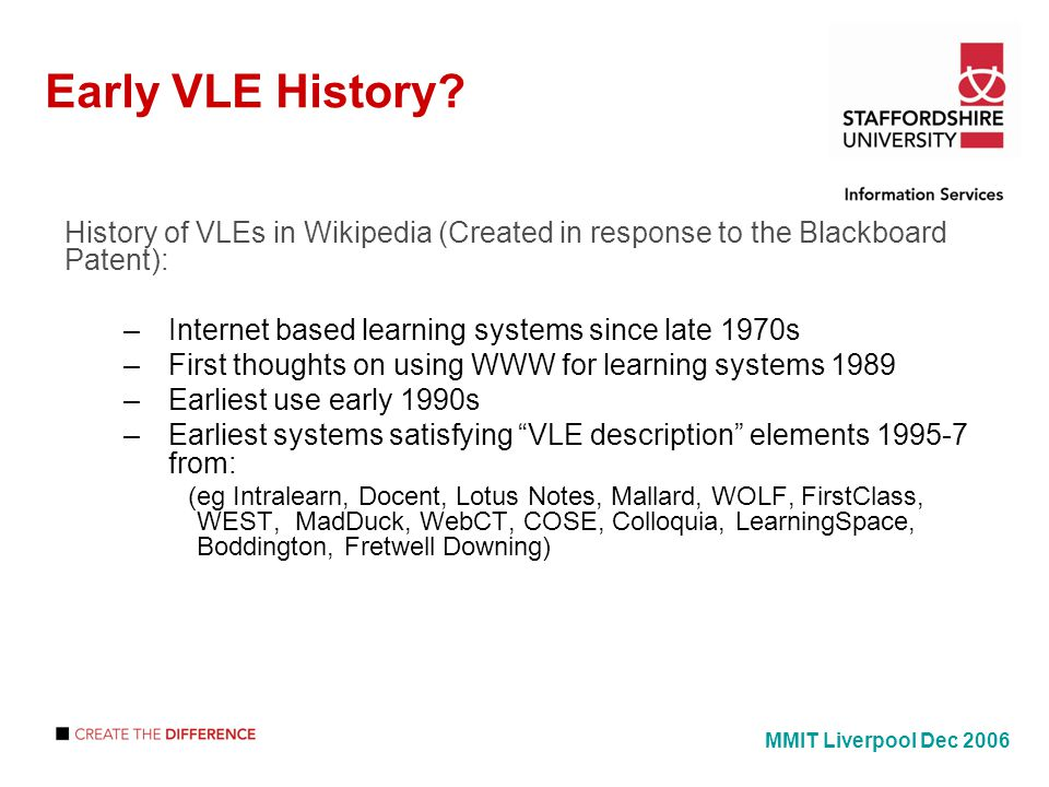 Early VLE History.