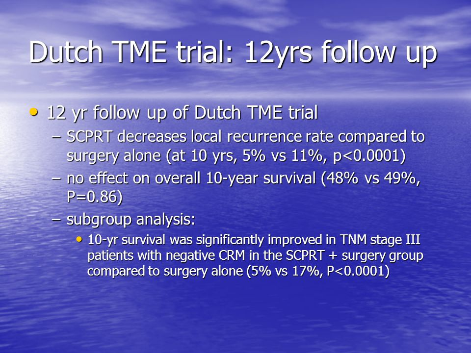 Dutch TME trial: 12yrs follow up 12 yr follow up of Dutch TME trial 12 yr follow up of Dutch TME trial –SCPRT decreases local recurrence rate compared