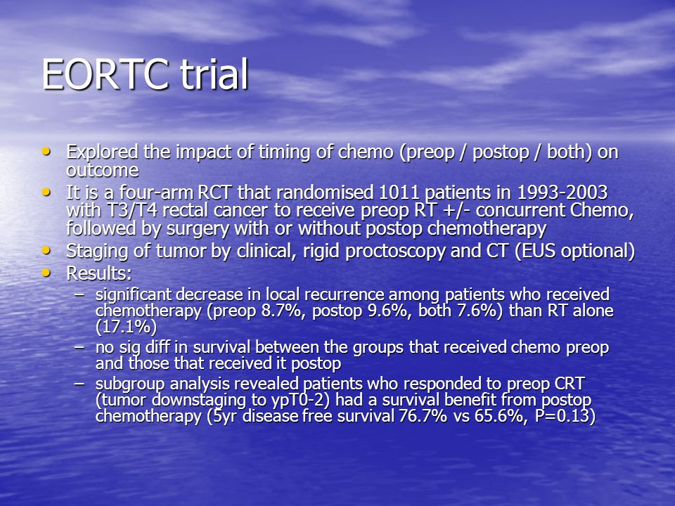 EORTC trial Explored the impact of timing of chemo (preop / postop / both) on outcome Explored the impact of timing of chemo (preop / postop / both) o