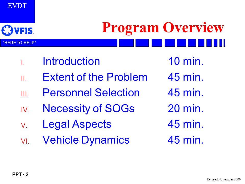 EVDT PPT - 2 HERE TO HELP Revised November 2000 Program Overview I.