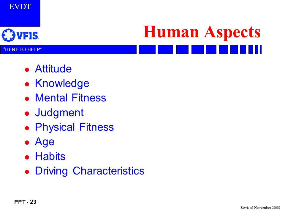 EVDT PPT - 23 HERE TO HELP Revised November 2000 Human Aspects l Attitude l Knowledge l Mental Fitness l Judgment l Physical Fitness l Age l Habits l Driving Characteristics