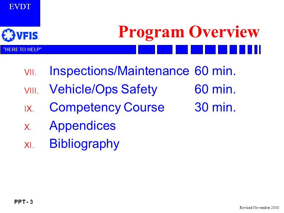 EVDT PPT - 3 HERE TO HELP Revised November 2000 Program Overview VII.