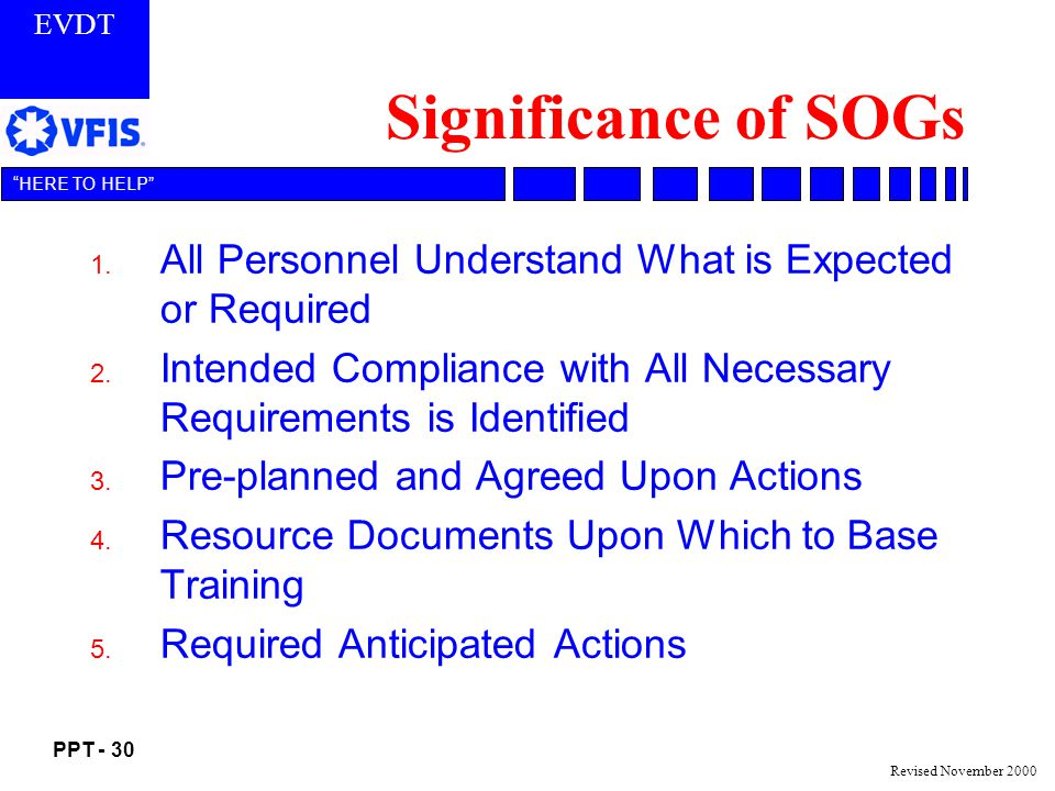 EVDT PPT - 30 HERE TO HELP Revised November 2000 Significance of SOGs 1.