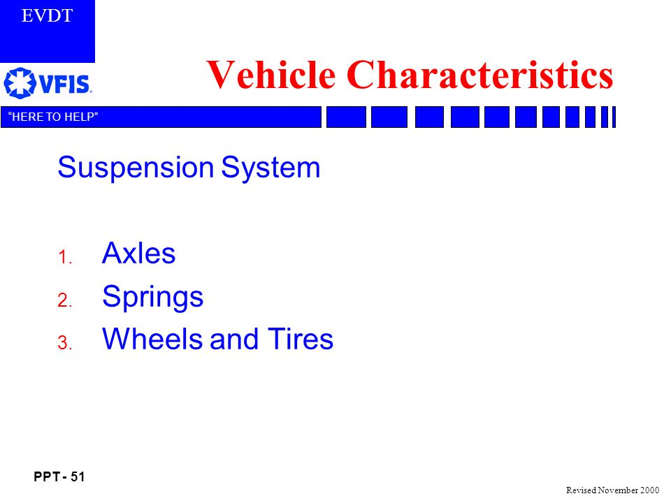 EVDT PPT - 51 HERE TO HELP Revised November 2000 Vehicle Characteristics Suspension System 1.