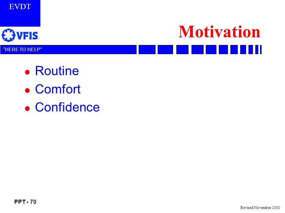EVDT PPT - 70 HERE TO HELP Revised November 2000 Motivation l Routine l Comfort l Confidence