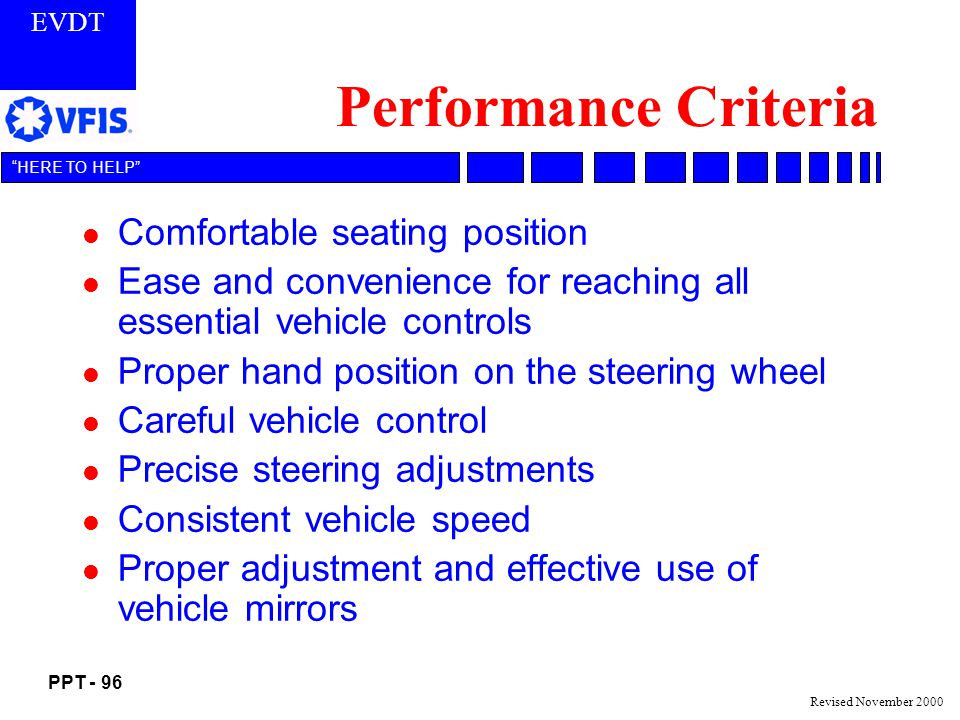 EVDT PPT - 96 HERE TO HELP Revised November 2000 Performance Criteria l Comfortable seating position l Ease and convenience for reaching all essential vehicle controls l Proper hand position on the steering wheel l Careful vehicle control l Precise steering adjustments l Consistent vehicle speed l Proper adjustment and effective use of vehicle mirrors