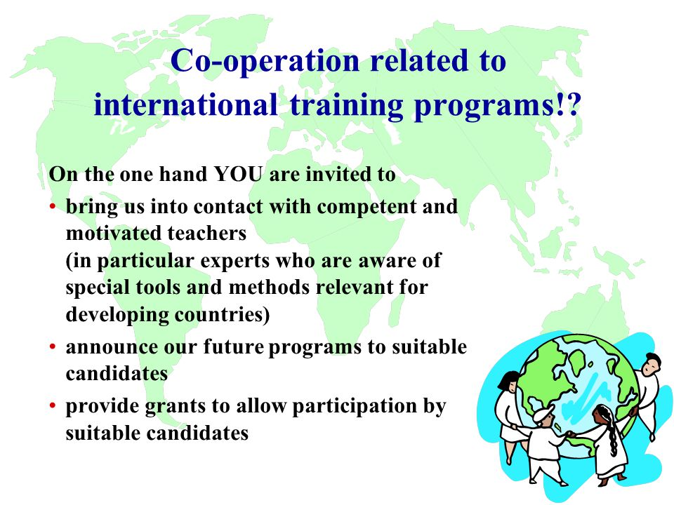 Co-operation related to international training programs!.