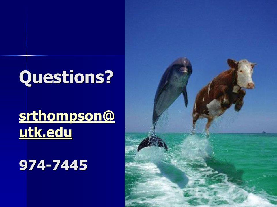 Questions srthompson@ utk.edu 974-7445 srthompson@ utk.edu srthompson@ utk.edu